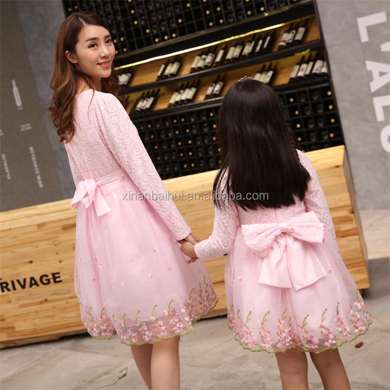 Otoño niña princesa vestido madre e hija Fiesta de la boda Vestido ...