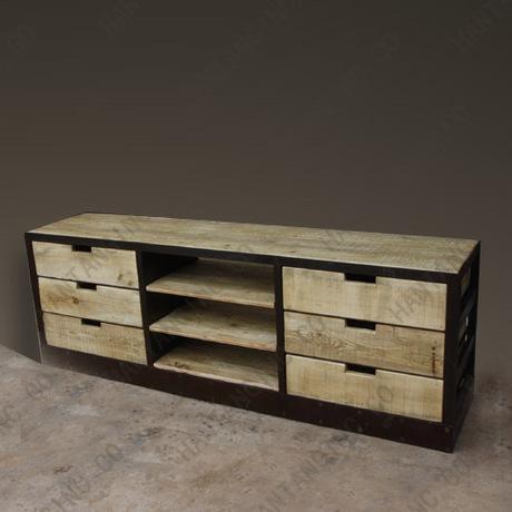 moderne et minimaliste r tro pour vieux style loft fer bois meuble tv vitrine avec tiroirs. Black Bedroom Furniture Sets. Home Design Ideas