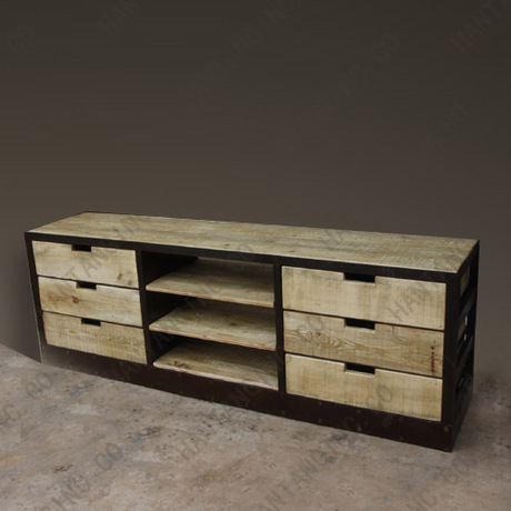 meuble tv bois et fer maison design. Black Bedroom Furniture Sets. Home Design Ideas
