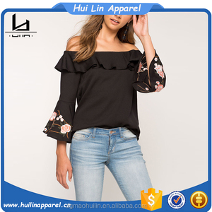 Chinese clothing manufacturers flounce embroidered off shoulder three-quarter trumpeted sleeves top dart shirt