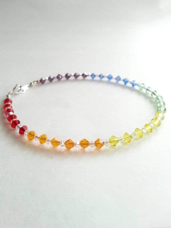 Rainbow crystal anklet, beaded summer anklet, colorful anklet, crystal beaded anklet, summer jewelry, handmade anklet, pride jewelry