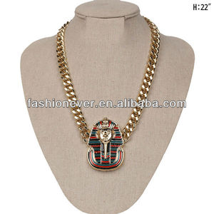 ICED OUT KING TUT PENDANT with CUBAN LINK CHAIN EGYPTIAN PHARAOH NECKLACE
