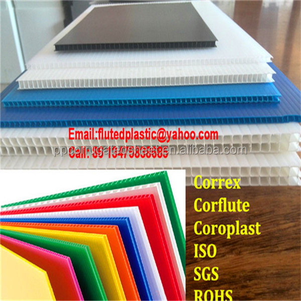 3mm 4mm 5mm 6mm Coroplast plastic sheet/Corflute board for printing advertising packaging