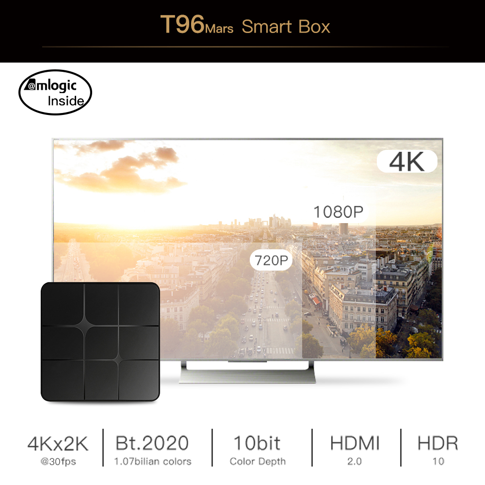 [ Factory directly ] Hot Selling Android TV Box T96 Mars 2/16Gb Amlogic S905W Smart TV For Android 7.1 Box Christmas Gifts