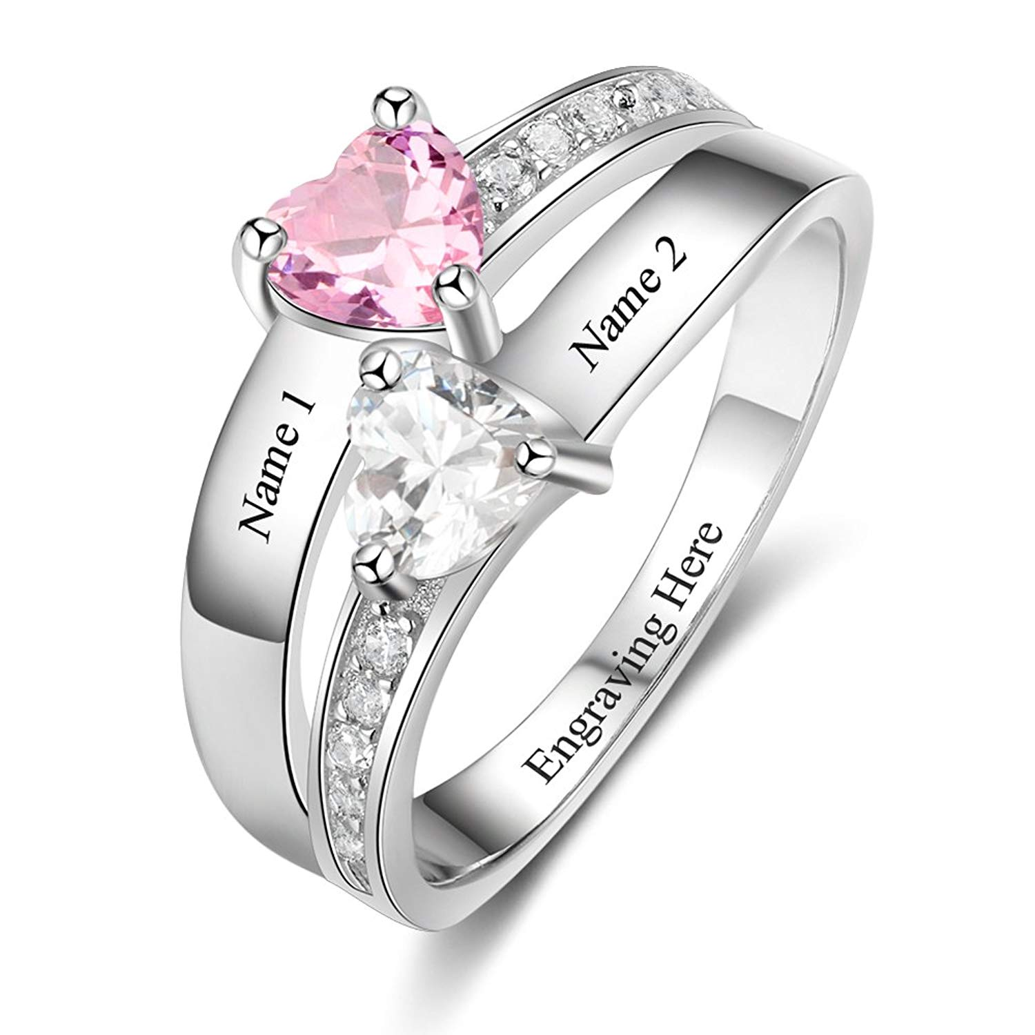 3dc46513a1 Get Quotations · To I LOVE Engagement Rings for Women Promise Rings for Her  2 Simulated Birthstone Rings Couple