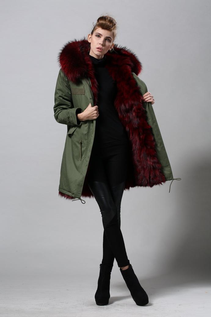 Hot Un Stock >> Fourrures de renard multicolore femmes vente chaude haute mode parka de fourrure capot parka ...