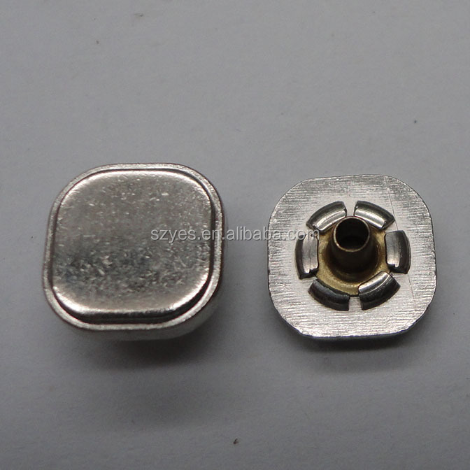 Eco- friendly metal button snaps for leather, square metal snap button with cheap price