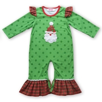 Green Santa Embroidery Baby Clothes Girl Romper Ruffle Jumpsuit For Kids Winter And Fall