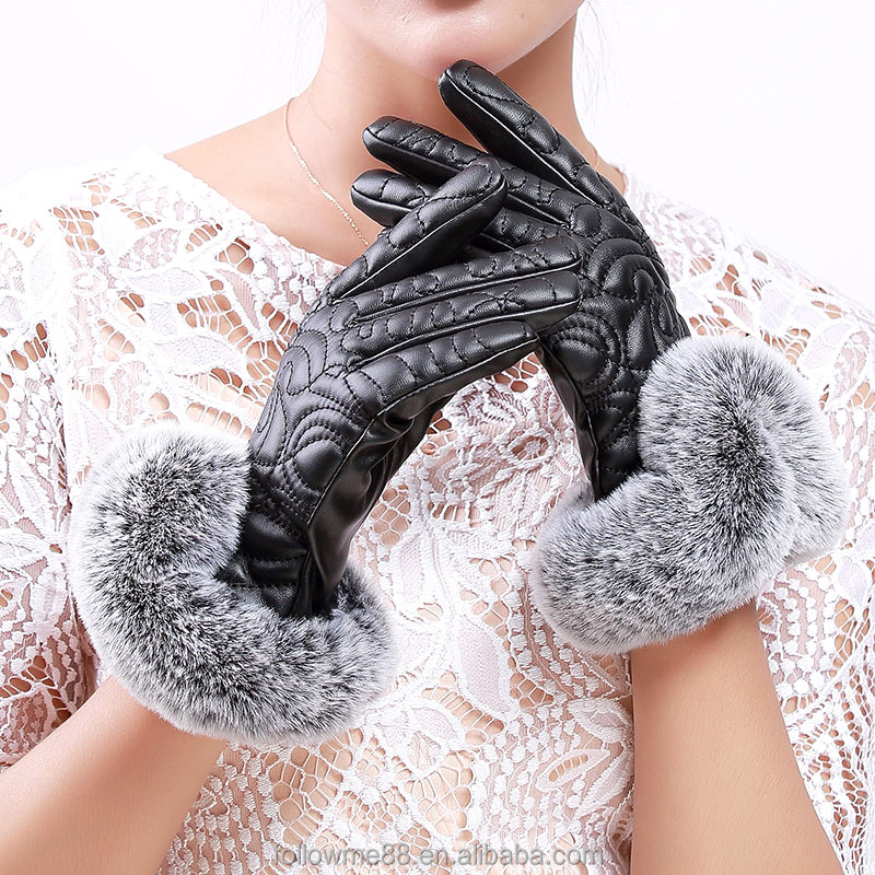 Cheap Women Winter Outdoor Extra Thick Leather Warm Gloves leather dress gloves with fur