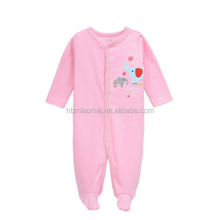 cute design infant baby girls rompers long sleeve winter pink color blank baby onesie for baby girls
