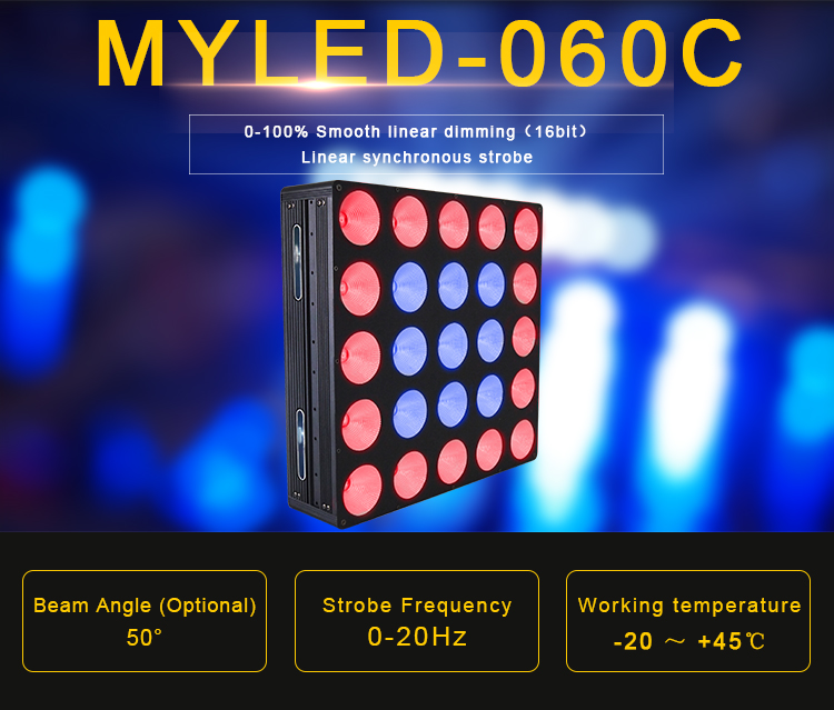 Innovative auto running and sound-active Tri-9W RGB 240W 5*5 COB LED equipment dj