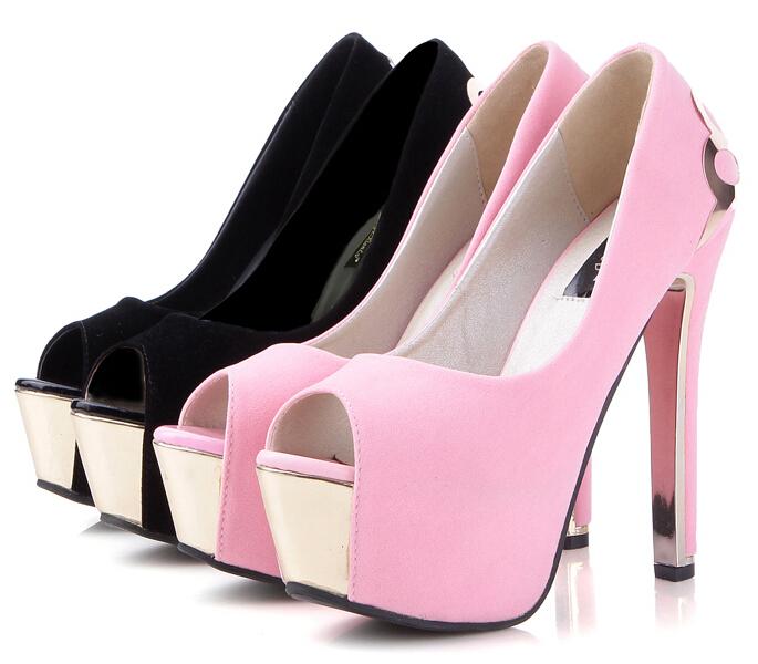 a03ed27694d Get Quotations · Female Spring Autumn 14CM Platform Metal Decoration Ultra  High Heels Open Toe Single Shoes High-