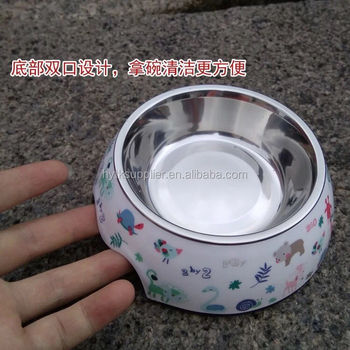 Stainless steel pet bowl double bowl with melamine base for pets juguetes para