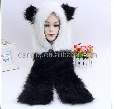 Europe and the United States fashion hat scarf gloves one animal hat imitation fur hat plush cartoon cap red wolf
