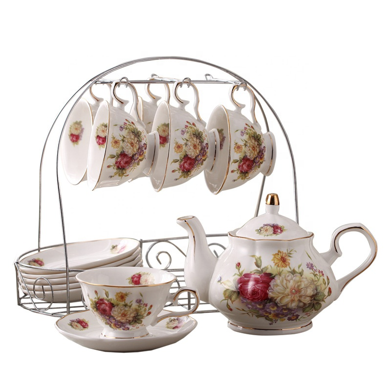 Горячая Распродажа, кофейная чашка, фарфоровая посуда, кофейная кружка, набор, 15 шт., керамический чайный набор, Альберт, Королевский чайный набор