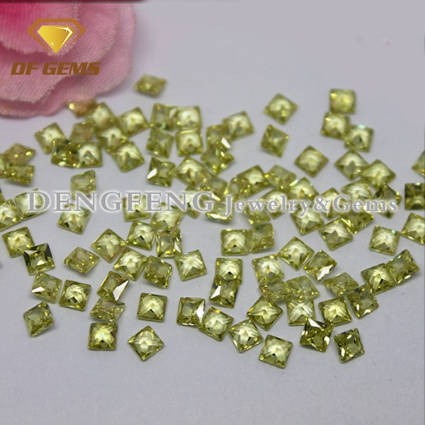 Square princess cut artificial gemstone apple green cubic zirconia stone