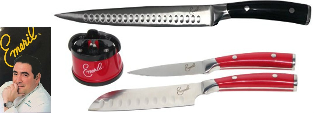 Emeril 8-inch Slicer Carving Knife With Cullens, Durable Non-Stick Stainless Steel Blade + 2 Piece Forged Steel Cutlery Set Red With Stainless Steel 5-Inch Santoku Knife, 3.5-Inch Paring Knife, and Red Knife Sharpener