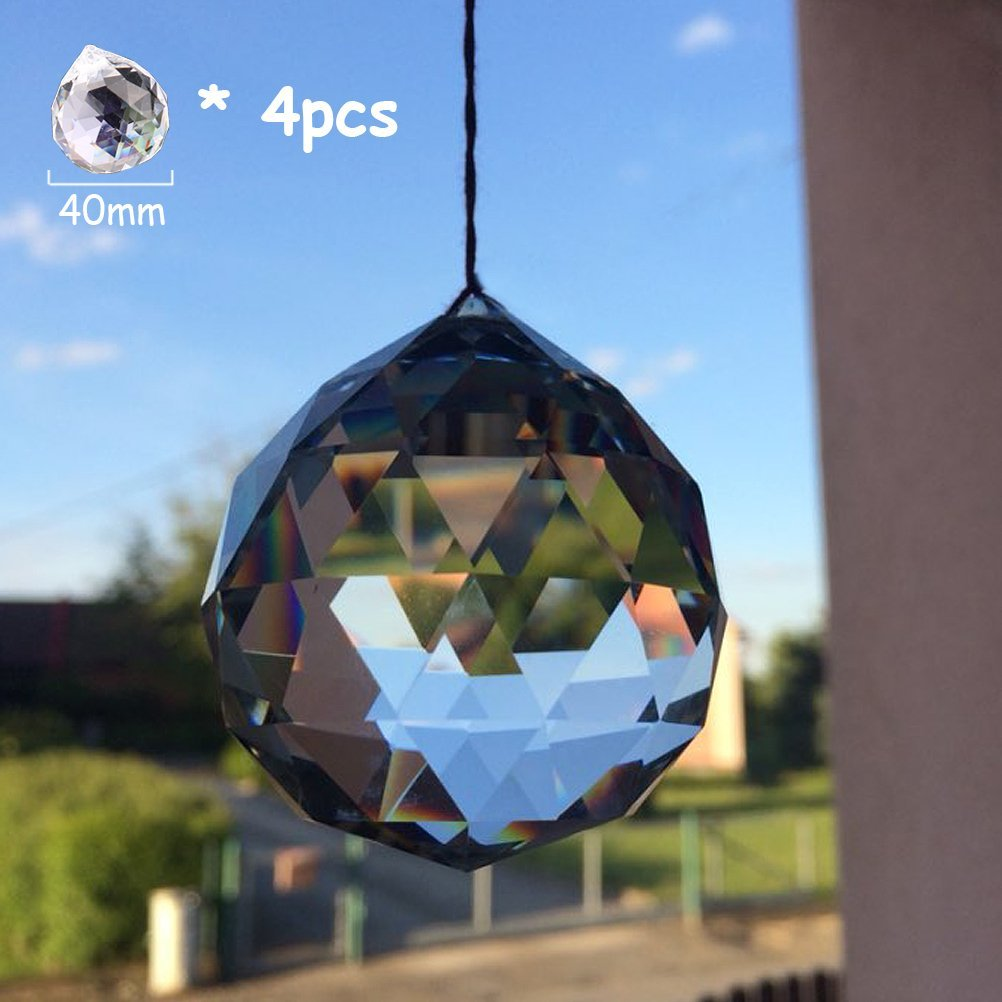 50mm Clear Suncatcher Crystal Ball Prisms Feng Shui Total 3Pcs with Gift Box 40mm Amlong Crystal 30mm