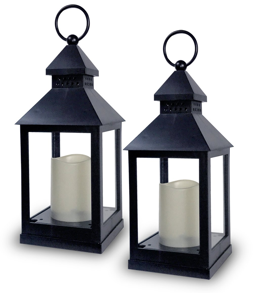 Get Quotations Decorative Lanterns Set Of 2 11 H Black With Flameless Candles Included