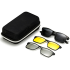 DLCTR2247 TR90 Sunglasses Set with 3 Magnetic Polarized Night Vision 3D Clips on Glasses