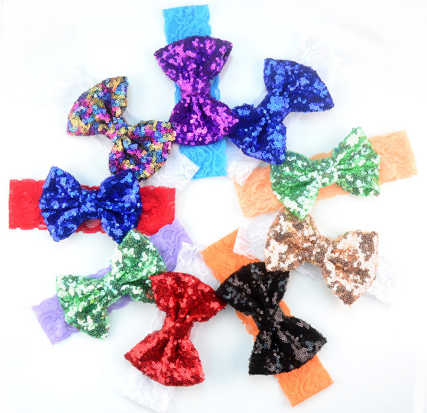 11 Cm 20 Colors Fashion Sequin Bow Cotton knot headband Wholesale baby large bow turban headband