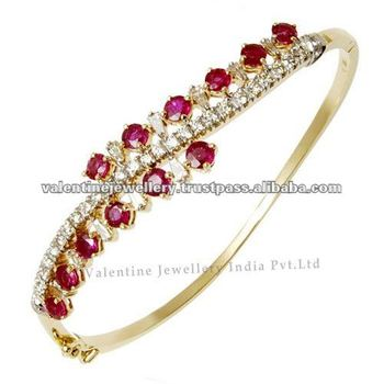 Diamond Ruby Bracelet Design Natural In Yellow Gold