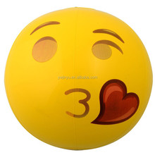 Promitional and welcome Kiss Face designs logo customized printed custom pvc inflatable emoji beach ball st004
