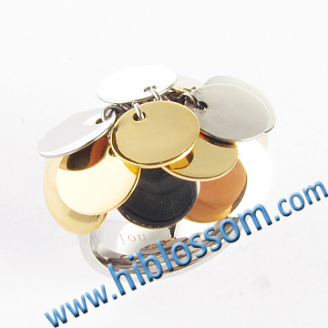 new style stainless steel gold finger initial ring design for women