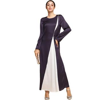 A3350 Muslim Evening Dresses Dubai Purple White Kaftan Jibab Evening