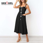 Paypal Accept Special Button Down Sexy Mid-calf Dress With Pocket