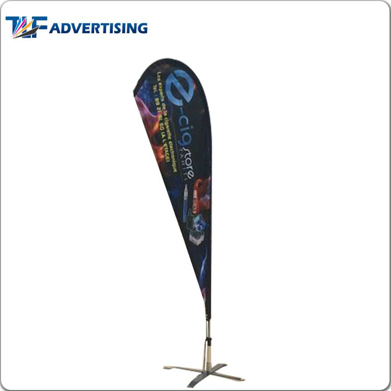 Fast Shipping custom printed logo bow head banner teardrop flag with 100 % fiberglass pole