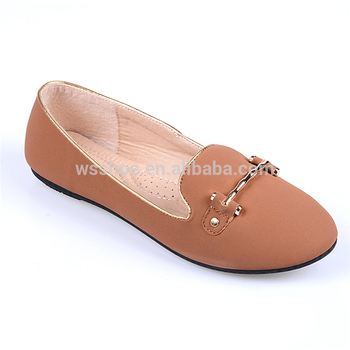 New coming hot sale comfortable flat leather upper brown women casual shoes