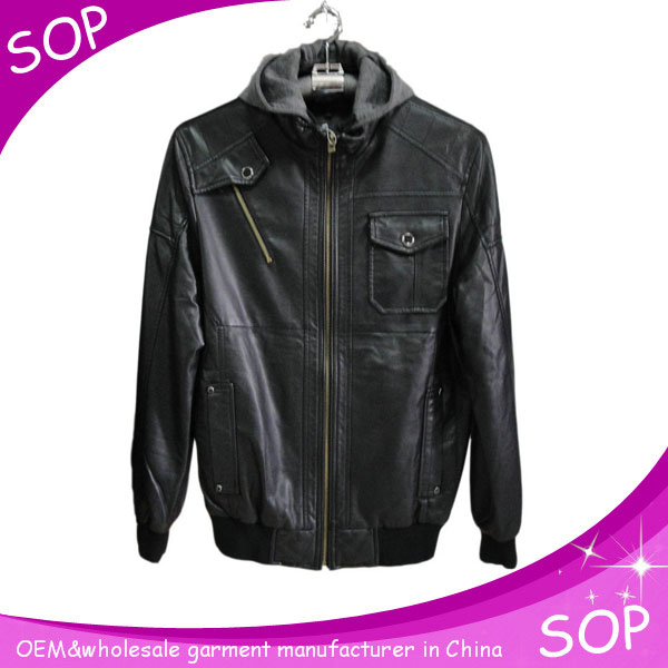 Bulk new fashion cheap men pu leather jacket with hood china supplier