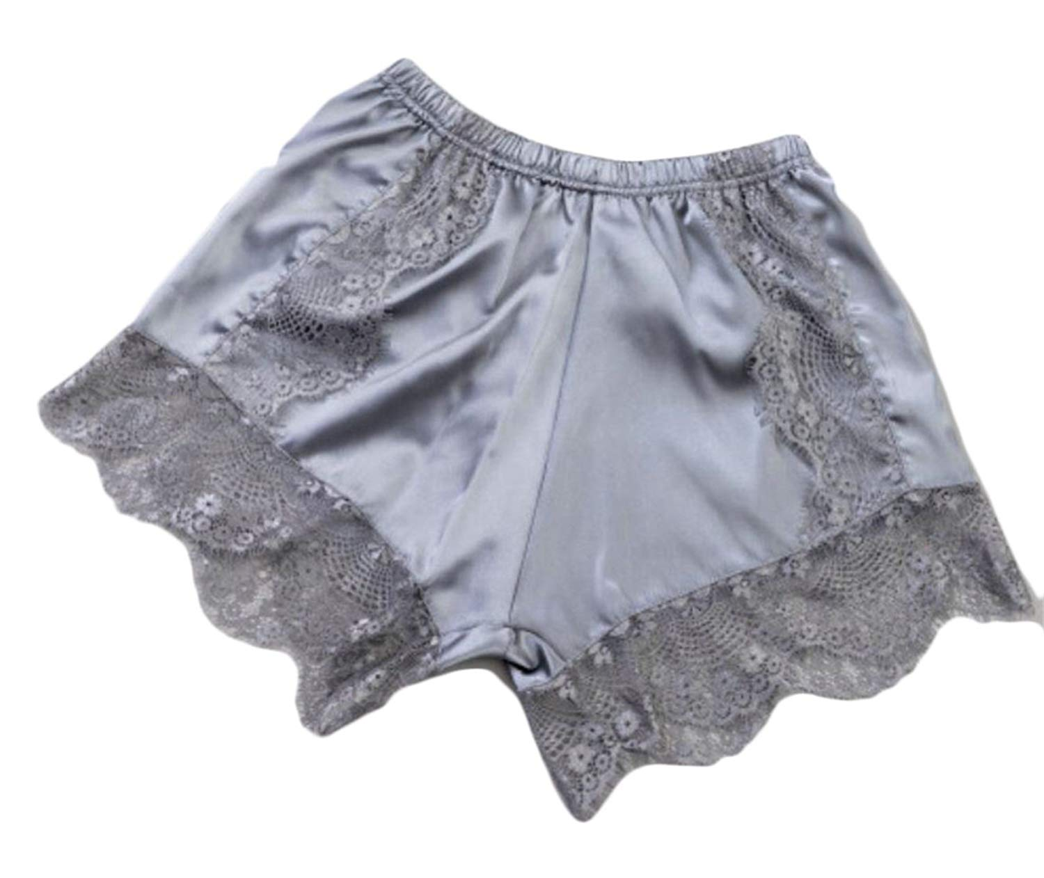 4699eabf6e9d Get Quotations · Pandapang Women Lace Boyshort Brief Panty Shorts Trim Silk  Satin Panties