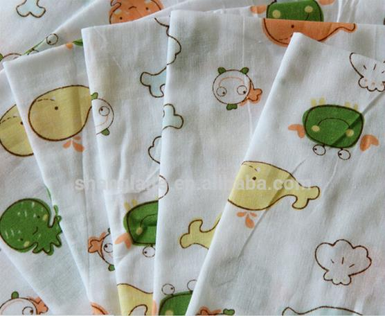 factory supply comfortable 100 cotton printed muslin baby clothing fabric