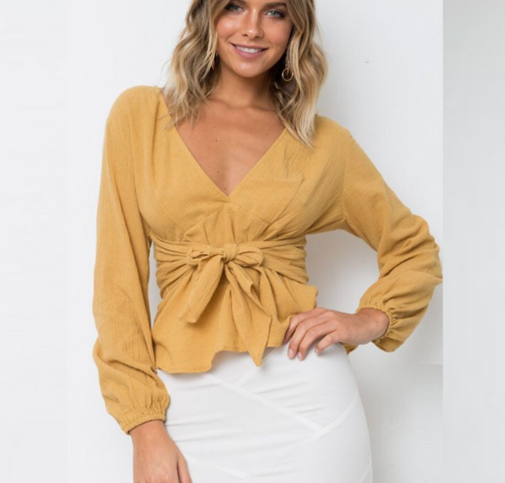 Z91738B 2018 Fashion Spring/summer Hot sale Deep V-neck Women Blouse Long Sleeves Tie Front Sexy Crop Top