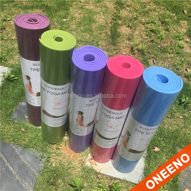 private label 6mm Eco tpe yoga mat with mix color wholesale