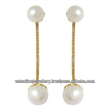 Pearl Long Earrings With 18k Gold Chain Customisable 2017 Latest And Design South Sea