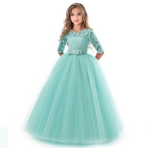 2019 Pabasana Fashionable Party Wear Lace Dress Party Gown Long Sleeve Teen Girls' Dresses Pageant Ball Gown Wear.