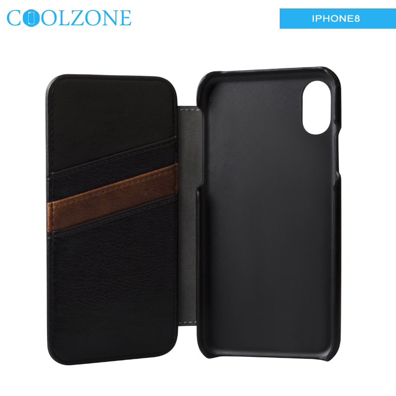 Hot for iPhone 8 customized leather genuine leather mobile phone case flip wallet phone case with card slots