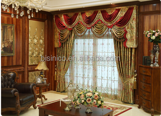 Charming Double Vlance Living Room Curtain, Floral Jacquard Blackour Window Curtain