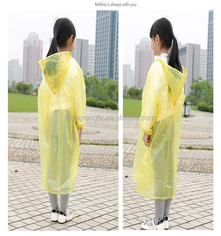 Children disposable PE water proof raincoat yellow colour