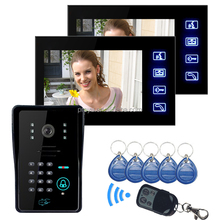 7'' TFT LCD Video Door Phone With 2 Indoor Monitor Connection Apartment Building Video Intercom System PY-806MJIDS12