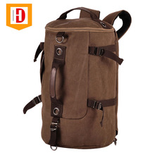 Custom Canvas Backpack Men Cylinder Backpack, Canvas And Leather Backpack Duffel Bag For Men