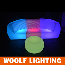 colors changing led illuminated single wide two seat sofa