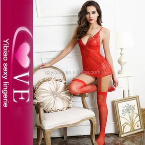 image of sexy night sleeping red dress sexy lingerie for girl in pajamas photo