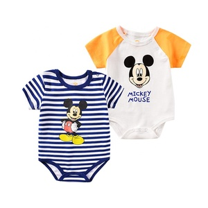Hot Sale Baby Summer Clothes Short Sleeve Lovely Cartoon Mouse Stripe Baby Rompers Newborn Baby Jumpsuit