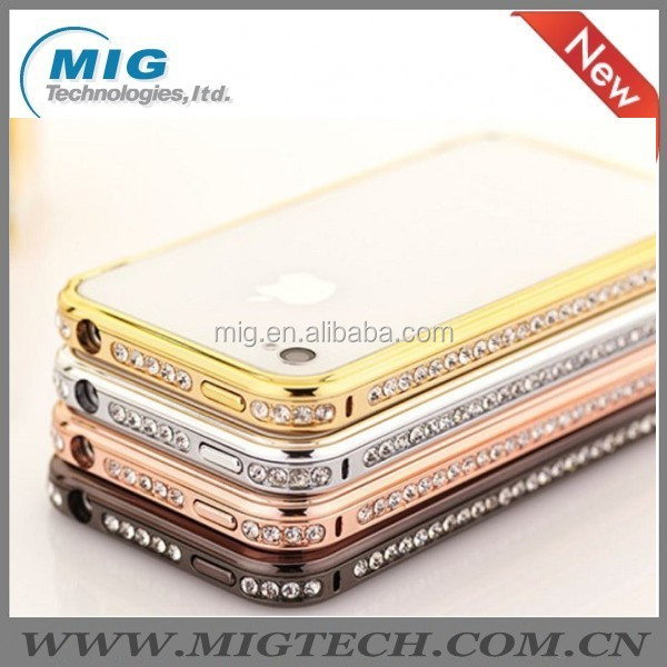 2014 new Hot Bling Diamond crystal AL metal bumper case for phone 4S, cell phone case for iphone 4 China Supplier 4 colors