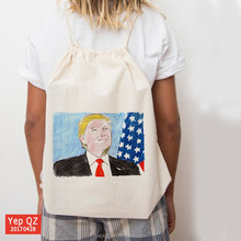 China supplier natural color canvas eco-friendly photos silk screen printing custom promotional string bag backpack
