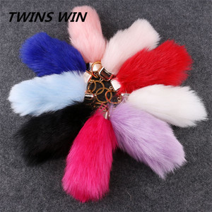 2017 Hot sale in Germany Multiple colors Faux rabbit fur fur keychain for women fashion bag key chain wholesale car keychain